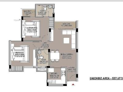 2 BHK Flat for sale, Project - Garden