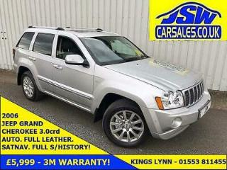 2006 Jeep Grand Cherokee 3.0CRD AUTO Overland Full S/History. H/Leather. SATNAV