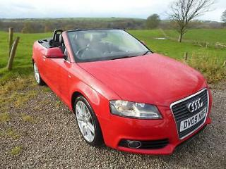 2009 09 Bright Red Audi A3 Cabriolet 2.0TDI S Line, Full Black Leather, Fsh