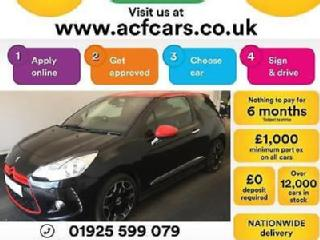 2013 BLACK CITROEN DS3 1.6 E HDI 115 AIRDREAM DSPORT RED CAR FINANCE FR £20 PW