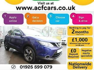 2015 BLUE NISSAN QASHQAI 1.2 DIG T N TEC+ PETROL HATCH CAR FINANCE FR £46 PW