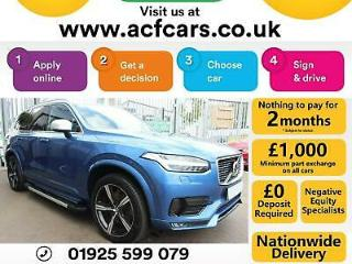2016 BLUE VOLVO XC90 2.0 D5 R DESIGN AWD 7 SEAT GEARTRONIC CAR FINANCE FR £121PW