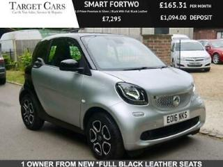 2016 SMART FORTWO 1.0 PRIME PREMIUM IN SILVER / BLACK WITH FULL BLACK LEATHER
