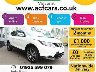 2016 WHITE NISSAN QASHQAI 1.5 DCI 110 TEKNA DIESEL HATCH CAR FINANCE FR £56 PW