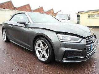 2018 18 REG AUDI A5 S LINE 2.0 TFSI CONVERTIBLE DAMAGED REPAIRABLE SALVAGE