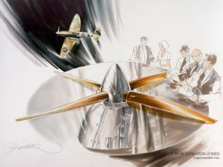 THE ICONIC SPITFIRE TABLE / SILVER POLISHED / MASTERPIECE/ ROLLS ROYCE